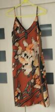 River Island Orange &  Brown Floral Strappy Sundress Size 12. Lined. BNWT