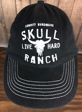 Cowboy Hardware Skull Ranch Mens Black Strapback Hat Ball Cap Live Hard 8020d93c7b4e