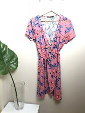 sportsgirl Wrap Dress 14 Pink Floral Boho