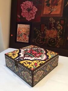 Decorative Watch Storage Box with Floral Mosaic Persian Exquisite Artwork
