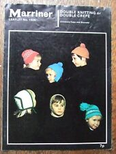 Marriner vintage knitting pattern for kids' hats 1505 double knitting or crepe