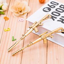 Cute Novelty Gold Rifle Shape Ballpoint Pen Writing Instrument Creative Gift