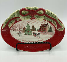 Fitz and Floyd Sentiment Tray Christmas Decoratove Cookie Treat Dish