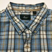 G.H. Bass & Co. Mens 3XL XXXL Button Front Short Sleeve Casual Shirt Blue