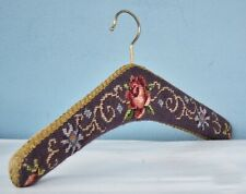 Vintage Velvet and Petit Point Wolle Covered Wood Clothes Hangers