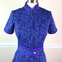 Vintage Womens Dress Textured Short Sleeve High Neck Purple Blue Belted Size XS