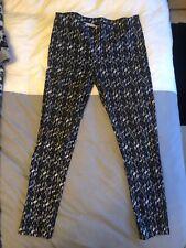 Ladies Black Print Capri Pants Trousers Size 16