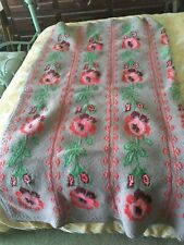 STUNNING HAND MADE FLORAL WOOL BLANKET - GREAT COLORS - 70 X 65
