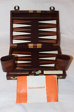 "Vintage Backgammon Faux Leather Briefcase 11""x 8"" Travel Size Stitched Board"