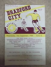 BRADFORD CITY V YORK CITY, 2ND SEPTEMBER 1964, LEAGUE CUP 1ST ROUND, 1964/1965.