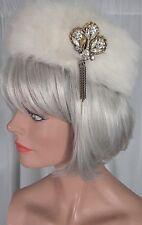 Vintage 1950s Womens Rabbit Fur Hat White Rhinestone Dangling Brooch Mousse HB