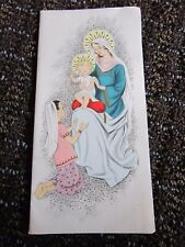 Vintage Christmas Card Madonna Jesus and Kneeling Girl Unused Free Ship