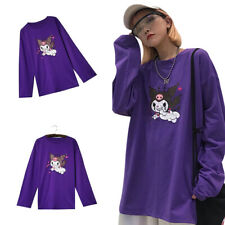 Purple Demon Printed T Shirt Harajuku Loose Long Sleeve Round Neck Shirt Female