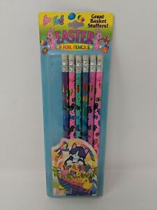Lisa Frank Pencils Foil Easter Kittens Chicks VTG 90s 1990s With Package Holiday