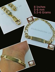 """10k Yellow Gold 8"""" Cuban Link ID Bracelet Figaro Lobster Clasp REAL 10KT 5MM-6MM"""