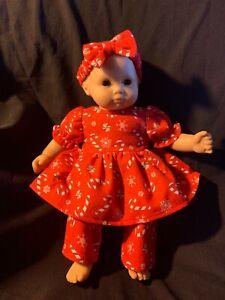 "Bitty Baby Doll Clothes Handmade 15"" Christmas Snowflake Candycane PJ's Headband"