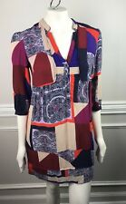 Anthropologie Maeve Dress Tunic Shift Taryn Crepe Paisley Patchwork Boho Size 4