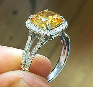 2.50Ct Cushion Cut Citrine Solitaire Gorgeous Engagement Ring 14K Rose Gold Fin