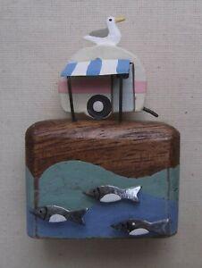 Little Caravan With Fish Decoration  Seaside Caravans  Retro Holiday Ornaments