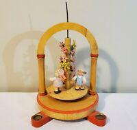 Vintage Erzgebirge Wendt Kuhn Carousel Pyramid Candle Holder Children Flowers