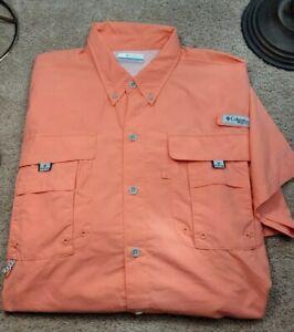 New! COLUMBIA PFG-Coral Orange Tactical Nylon, Mens SS Summer Fishing Shirt-(L)