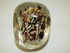 Nourot Art Glass Paperweight Dichroic Gold Foil Clear Purple PR 25 99 ACC