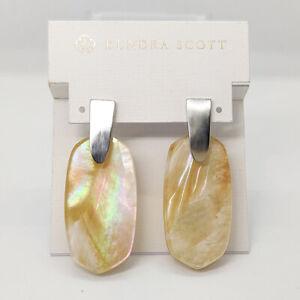 New Kendra Scott Aragon Drop Earrings In Brown Pearl / Silver