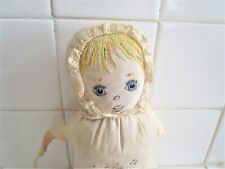 """Doll 1930"""" Maybe Embroidered Sweet Face & Hair Silky Fabric"""