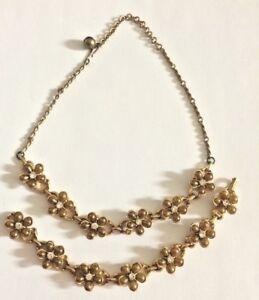 Vintage Necklace & Bracelet Set Rhinestone Flower Goldtone