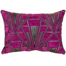 Art Deco Boudoir Cushion. Luxury Velvet Chenille. Silver and Pink Geometric.