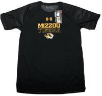 NEW Under Armour NCAA Mizzou Tigers Youth Boys XLarge HeatGear BLACK