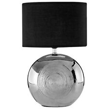 Holly Silver Ceramic Black Shade Scratch Detail Home Office Bedside Table Lamp