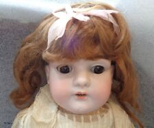 antique German bisque head girl sleeper eye doll marked L.H.B.