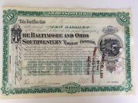 Genuine American Railway Share Certificate Baltimore & Ohio Railway Dated 1894