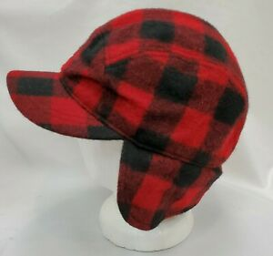 LL Bean Maine Guide Wool Cap Hat Large Primaloft Ear Flaps Red Buffalo Plaid