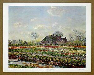 Claude Monet  Tulip Fields Haarlem Vintage 1st Ltd Ed Original 1960 Lithograph