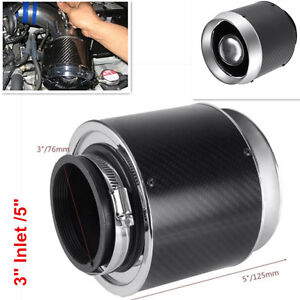 "Hi-Flow Air Filters For Cold Air/Short Ram Intake Carbon Fiber Look 3"" Inlet /5"""