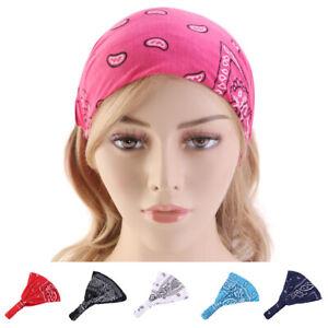Women Wide Cotton Elastic Headband Turban Sports Yoga Knotted Hairband Headwrap