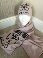 MOSCHINO BLUSH PINK BEANIE HAT & SCARF SET DOUBLE QUESTION MARK MADE IN ITALY