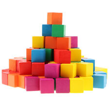 Colorful Wooden Cubes Building Blocks (1inch, 100-piece) Stacking Games Toy