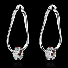 Hot 925Sterling Solid Silver Jewelry Colorful Crystal Beads Dangle Earrings E245