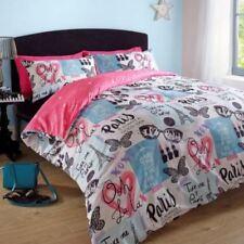 Parures et housses de couette rose en polyester avec des motifs Cœurs