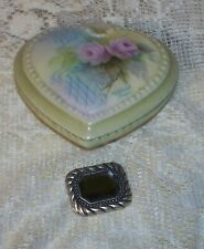 Witch's Haunted Silver Tone Glass Stone Pendant & Heart Homing Box No Doll