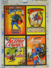 "SUPERMAN SUPERHERO ACTION DC COMICS 4 STICKER SET SHEET 5""X7"" NEW"