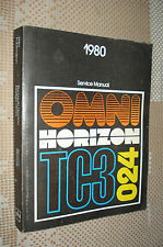 1980 DODGE OMNI PLYMOUTH HORIZON SERVICE MANUAL ORIGINAL SHOP REPAIR BOOK