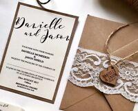 Rustic Lace & Twine Wooden Heart Invite. BASIC Set/ Full Price Invite.
