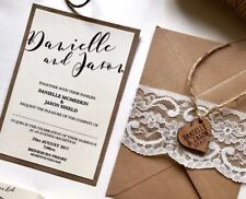 Rustic Lace & Twine Wooden Heart Invite. BASIC Set/ Full Price Invite.
