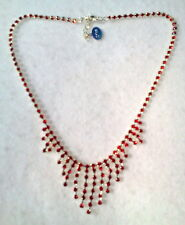 BRIGHT RED FRINGE CRYSTAL NECKLACE MADE IN CZECH REP