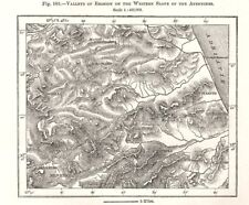 Valleys of erosion of the eastern Slope of the Apennines. Italy. Sketch map 1885