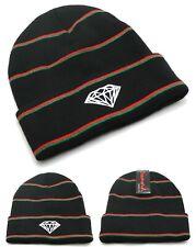 Diamond Supply Company New Stripe Cuffed Black Red Knit Skull Beanie Era Hat Cap